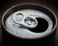 Opened aluminum can. Stock Photo