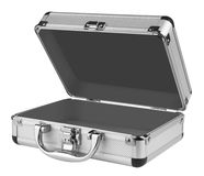 Opened Aluminum suitcase Stock Photos