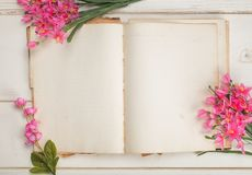 Free Opened And Blank Vintage Journal Paper Or Stationary Book With Pink Feminine Flowers On Shabby Chic White Board Table Background. Stock Photo - 101138950