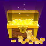 Opened antique treasure chest, coin Royalty Free Stock Image
