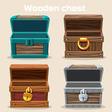 Opened antique wooden chest Stock Photography