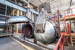 Opened autoclave for concrete blocks production at factory Stock Photos