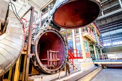 Opened Autoclave For Concrete Blocks Production At Factory Royalty Free Stock Images