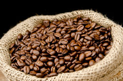 Opened bag of coffee beans Royalty Free Stock Photography