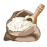 Opened bag of flour, half full. Wooden spoon for loose products. Storing flour. Cooking. Vector. Opened bag of eco flour, half full. Wooden spoon for loose Stock Photos