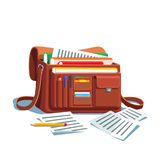 Opened Bag Or Briefcase Full Of Documents Royalty Free Stock Images