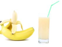 Opened banana and juice. Stock Image