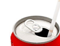 Opened beverage can with straw Stock Image
