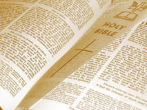 Opened Bible. With bookmark, sepia stock image