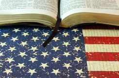 An Opened Bible on an American Flag Background Royalty Free Stock Photography