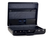 Opened black briefcase for documents Royalty Free Stock Images