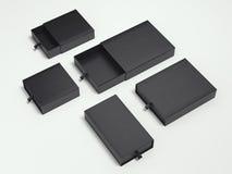 Opened Black Cardboard Packages. 3d Rendering Royalty Free Stock Photo
