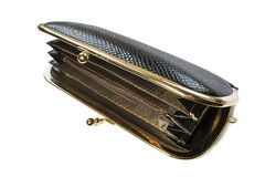 Opened black clutch Stock Photo