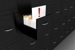 Opened black file cabinet white document exclamation mark illust Stock Images