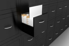 Opened black file cabinet white empty documents illustration. Opened black file cabinet white empty documents 3d illustration royalty free illustration