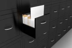Opened black file cabinet white empty documents illustration Royalty Free Stock Images