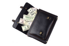 Opened black leather briefcase with dollars isolated on white ba Royalty Free Stock Images