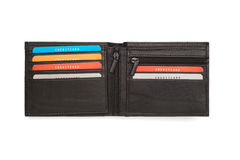 Opened Black Leather Wallet with Multi Card Holders Stock Photography