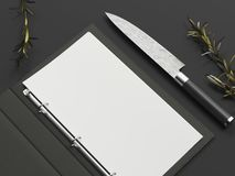 Free Opened Black Menu And Paper Sheet Next To Knife On Black Background, 3d Rendering Royalty Free Stock Image - 119835846