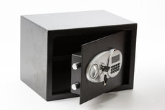 Opened black metal safe box with numeric keypad locked system an Stock Images