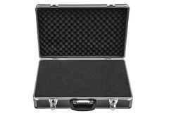 Free Opened Black Padded Aluminum Briefcase Case With Metal Corners Isolated On White Royalty Free Stock Image - 196700806
