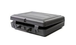 Opened black plastic case. Photos isolated on white background stock image