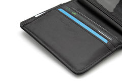 Opened black wallet with cards Stock Photo