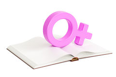 Opened blank book with female gender symbol, 3D rendering. Opened blank book with female gender symbol, 3D Stock Image