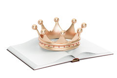 Opened blank book with golden crown, 3D rendering. Isolated on white background Royalty Free Stock Photo