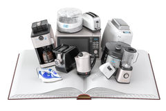Opened blank book with household kitchen appliances, 3D renderin Royalty Free Stock Images