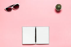 Opened blank diary, black pen, white glasses on pink textplace background. flat lay, top view. Feminine workspace Royalty Free Stock Photo