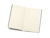 Opened blank moleskine note books. Soft pages texture - isolated on black and white stock image