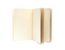 Opened blank note books - soft pages texture. Isolated on white royalty free stock images