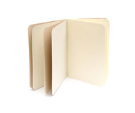 Opened blank note books - soft pages texture. Isolated on white stock photography