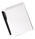 Opened blank notebook with pen isolated on white Stock Photography