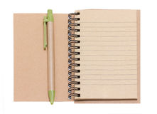 Opened Blank Notebook With Pen. Stock Photos