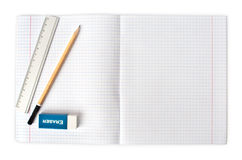 Opened blank notebook with pencil and eraser Royalty Free Stock Photography