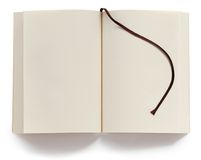 Opened blank paperback with bookmark Royalty Free Stock Image