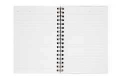 An opened blank ribbed notebook Stock Photos