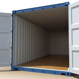 Opened blue cargo container isolated on over white. 3D illustration Stock Images