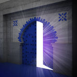 Opened blue doorway exploration perspective with glow Royalty Free Stock Photos