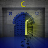 Opened blue doorway with yellow glow Stock Photography