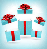 Opened blue gift boxes  on blue Stock Photo