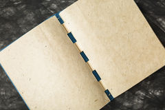 Notebook paper with the texture. Opened blue notebook, paper with texture. clear pages stock photo