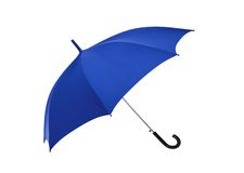 Opened blue umbrella isolated on white Royalty Free Stock Photos