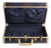 Opened blue vintage suitcase Royalty Free Stock Photography