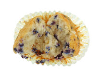 Opened Blueberry Muffin Baking Cup Royalty Free Stock Photos