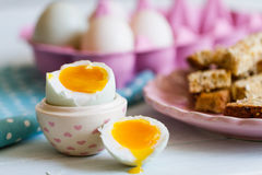 Opened boiled blue duck egg with soft yolk Stock Photography