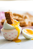 Opened boiled blue duck egg with soft yolk with toast soldier di Royalty Free Stock Photos