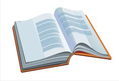 Opened book. With orange cover - vector illustration royalty free illustration